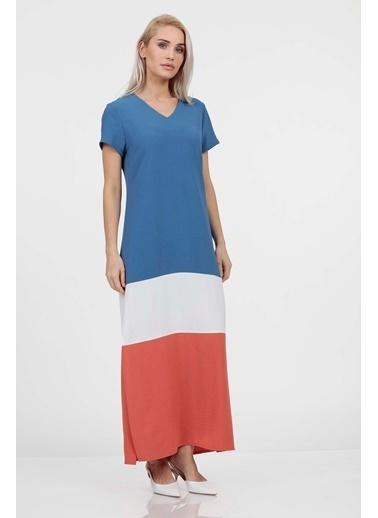 Vitrin Colorblock Yanları Yırtmaçlı Elbise İndigo